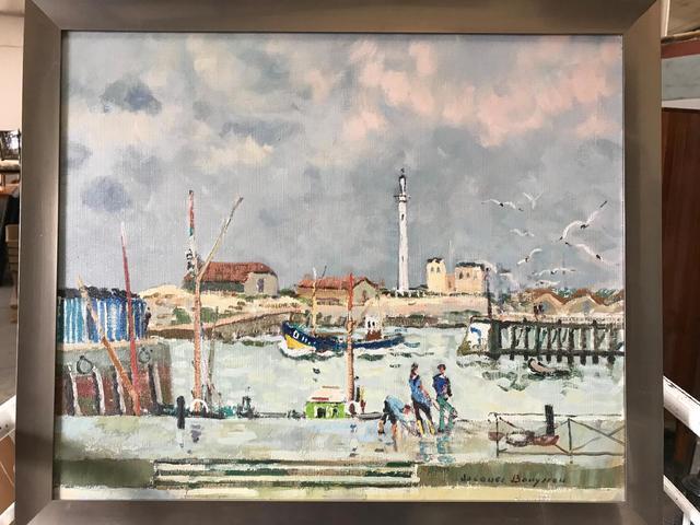 Jacques BOUYSSOU (1926-1997). Le port de Ostende. Huile sur toile.