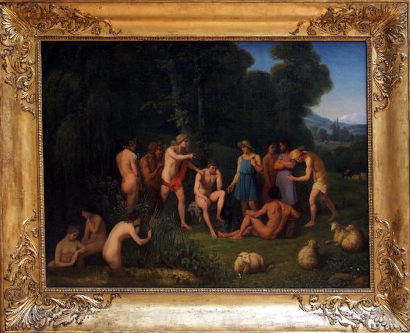 Pierre-Etienne Perlet dit Petrus, scène mythologique, huile sur toile,