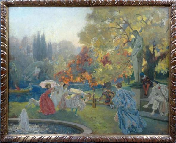 Paul-Albert LAURENS (1870-1934), jeux costumés aux jardin, huile