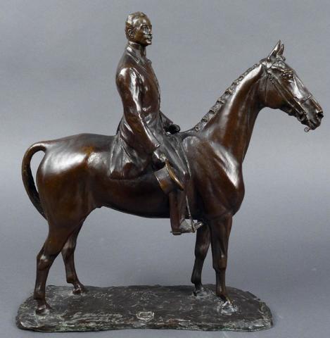 Georges Malissard (1877-1942), Homme à cheval, bronze à la cire