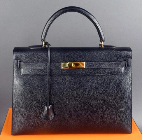 Hermès, Paris, made in France, sac Kelly en cuir grainé noir commande