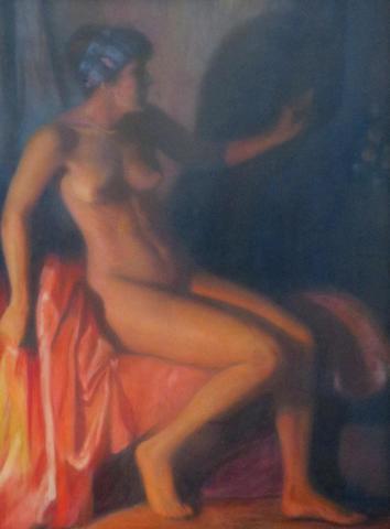 Jacques MAJORELLE (1886-1962). Nu au miroir. Pastel signé en bas