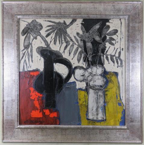 Claude VENARD (1913-1999). Bouquets. Huile sur toile, signée en bas