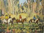 113     Léon HUSSON (1898-1983), HUILE SUR PANNEAU, EQUITATION D'AUTOMNE