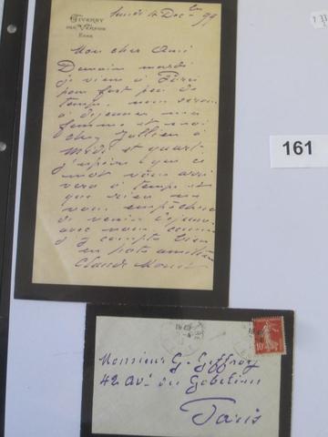 161 .6   Claude MONET (1840-1926), LETTRE AUTOGRAPHE SIGNEE DU 4 DECEMBRE