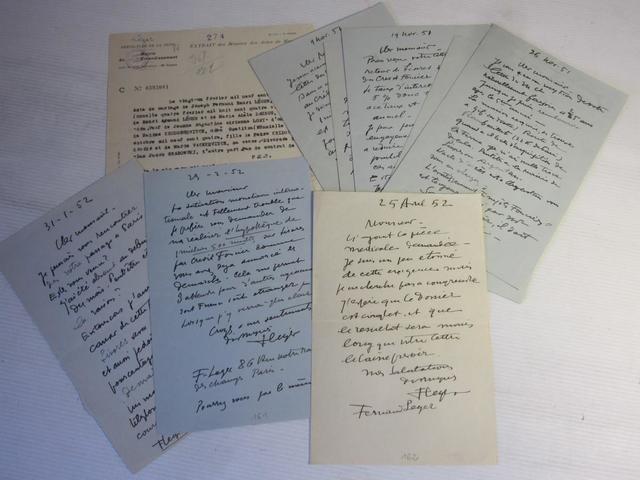 251 .6   Fernand LEGER (1881-1955), ENSEMBLE DE HUIT LETTRES AUTOGRAPHES