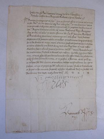 291 .6   BELLE LETTRE AUTOGRAPHE SIGNEE DE CHARLES QUINT (1500-1558)