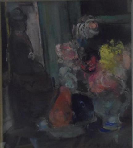 Henriette DELORAS: Nature morte au bouquet. Important pastel signé