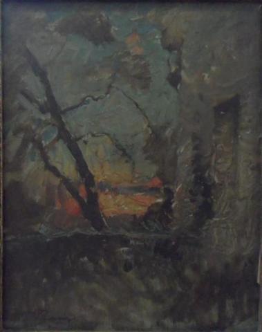 François Auguste RAVIER: Crepuscule à l'arbre penché. Huile sur