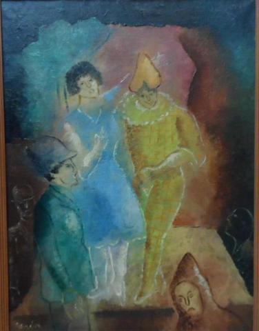 Manuel RENDON (1894-1980) : Arlequin et personnages. Huile sur toile