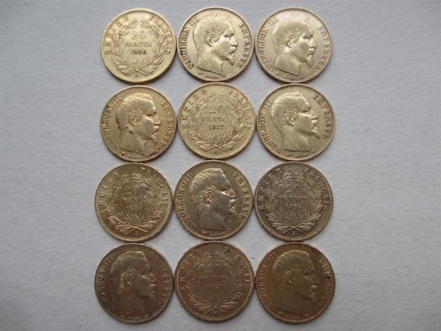 NAPOLEON III, 12 pièces 20 Fr or tête nue 1854 à 1860 (1858 BB)