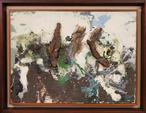 REBEYROLLE Paul (1926-2005) : Paysage. Bois, terre, cailloux et technique