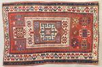 CAUCASE Petit tapis d'Orient à motifs géométriques polychromes