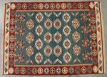 TAPIS tissé polychrome de motifs géométriques, Inde 150 x 210