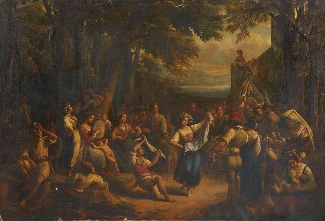 """COLIN Alexandre Marie (1798/1875). """"La fête au village"""". Huile sur"""