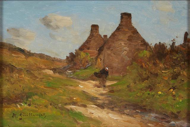 """GUILLEMET Jean-Baptiste-Antoine (1843/1918). """"Normande sur le chemin""""."""