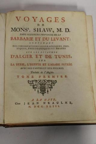 « Voyages de Monsr. Shaw, M. D. dans plusieurs provinces de la Barbarie