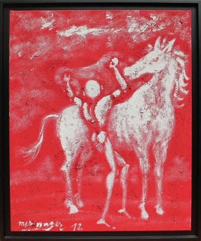 """J.MESNAGER  """"Marocain sellant son cheval d'aprés Delacroix"""" acrilyque"""