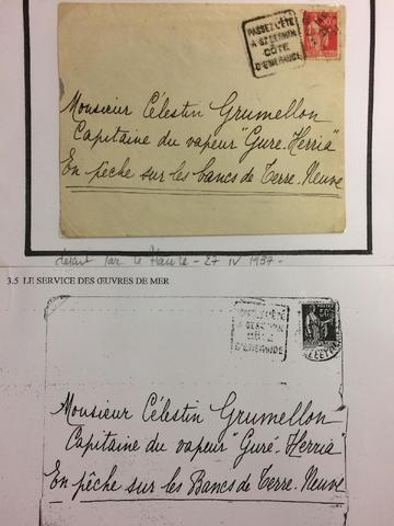 1937, lettre adressée en pêche sur les bancs de Terre-Neuve  RR