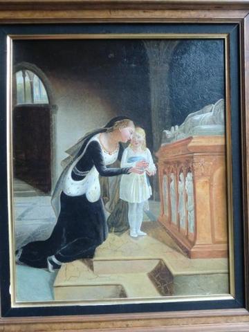 Ecole XIXème, vers 1830 : Femme éplorée et son enfant devant un