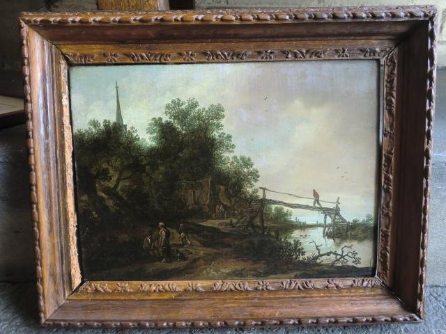 Pieter de MOLIJN (1595-1661) : Paysan près d'un pont de bois, panneau