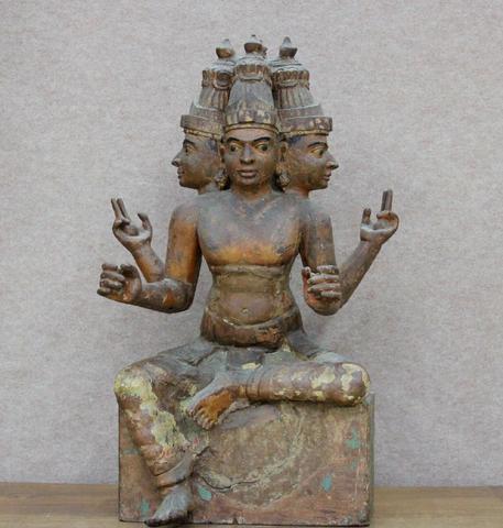 Inde Méridionale 19ème S. Statue en ronde-bosse du dieu Skanda.