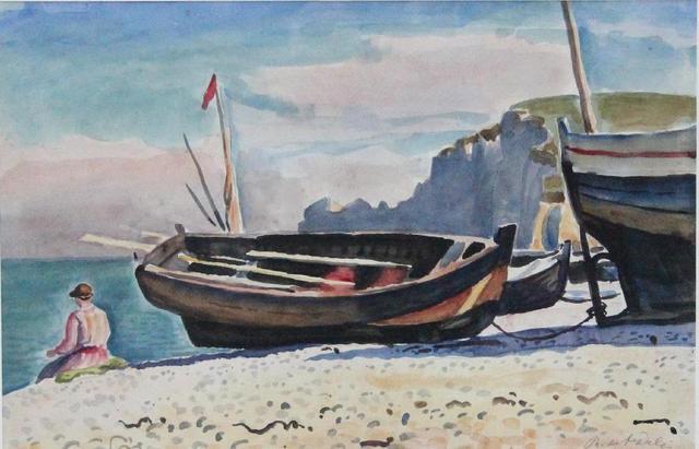 SAINT DELIS René, de (1877-1958) Barques sur la plage à Etretat