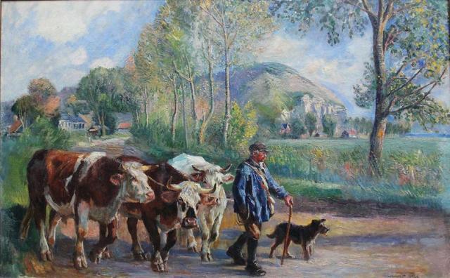 LECOURT Raimond (1882-1946) Retour du troupeau à La Pissotère à