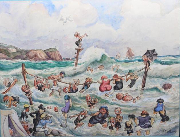 PAILHES Fred (1902-1991) Les bains de mer Aquarelle gouachée sbd