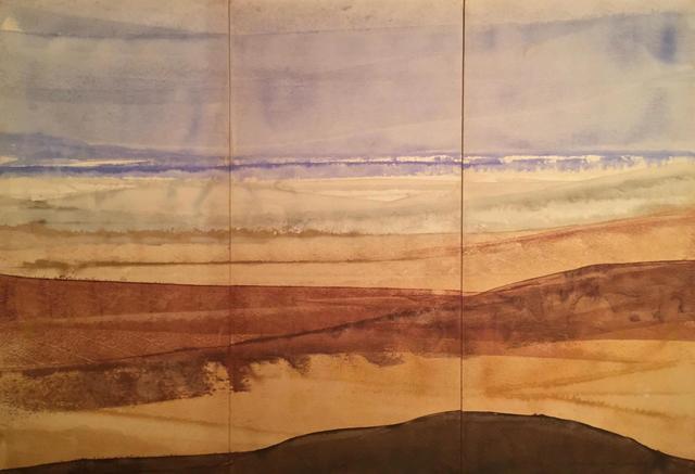 ECOLE CONTEMPORAINE Bord de mer, 1986 Triptique. Aquarelle sur papier