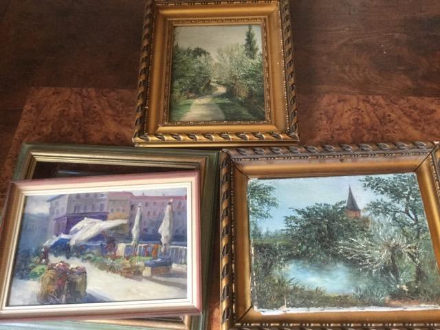 Trois huiles : Nice port du Paillon et deux paysages