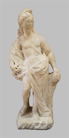 Importante sculpture en marbre : la déesse Pomone, protectrice des