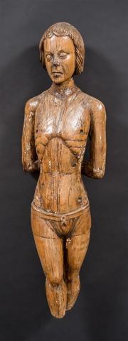 Saint Sébastien, bois sculpté. Allemagne, XVe siècle. (manquent