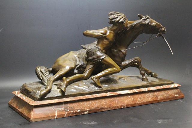 Edouard DROUOT (1859-1945) Indien et son cheval Bronze à patine brune