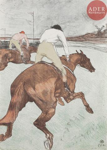 Henri de TOULOUSE-LAUTREC Le Jockey. 1899. Lithographie. 518 x 363.