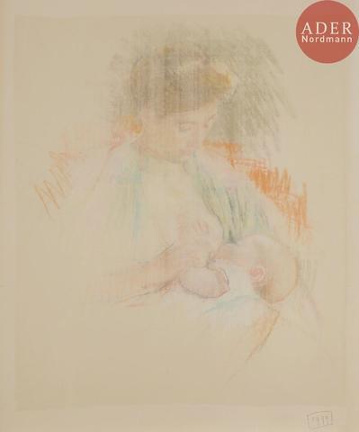 Mary CASSATT  Mother Rose Nursing her Child. Vers 1900. Contre-épreuve
