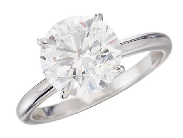 Solitaire en or blanc serti d'un diamant taille brillant pesant 3,01