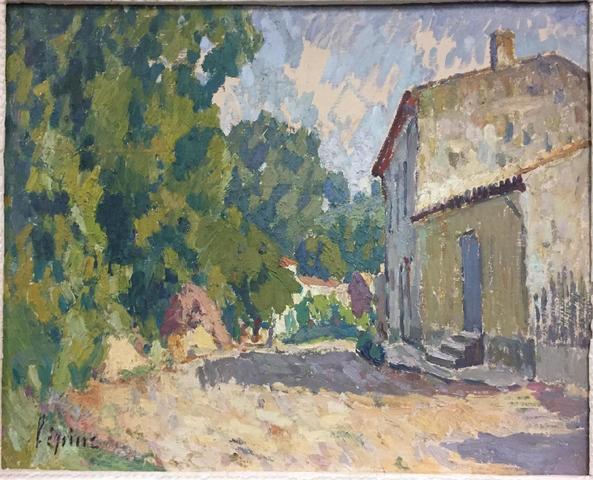 (44) - Joseph LÉPINE (1867-1943), paysage à la maison, huile sur