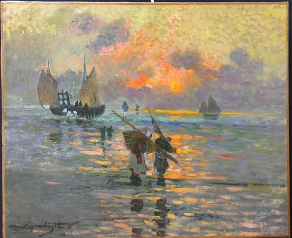 (40) - Eugène CHIGOT (1860-1923), retour de pèche, huile sur toile