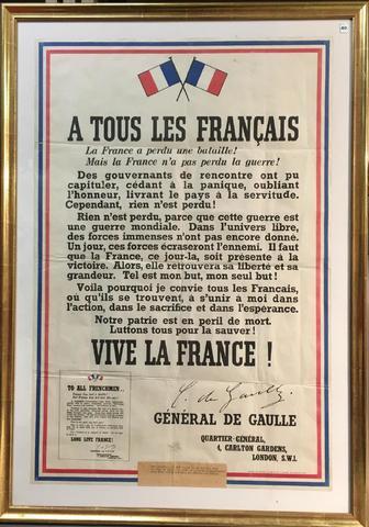 Deuxième Guerre mondiale, Affiche originale de l'appel du 18 juin