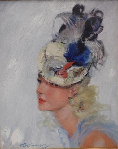 """DOMERGUE Jean-Gabriel (1889-1962), """"Portrait de femme au chapeau"""","""