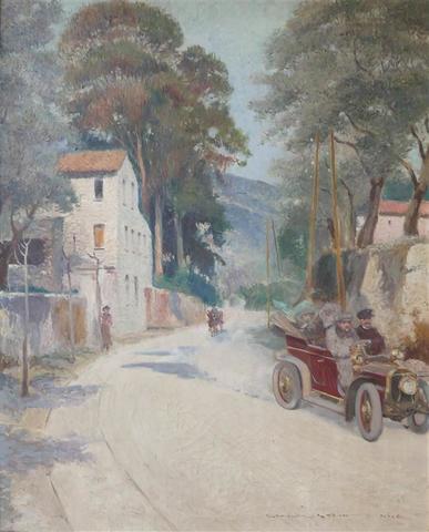 Georges Stein. Automobile aux environs de Nice. HSToile. Signée et