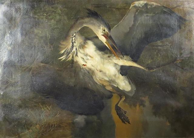 Ecole XIXème. Nature morte au héron. HST. XIXème. 88 x 62 cm.