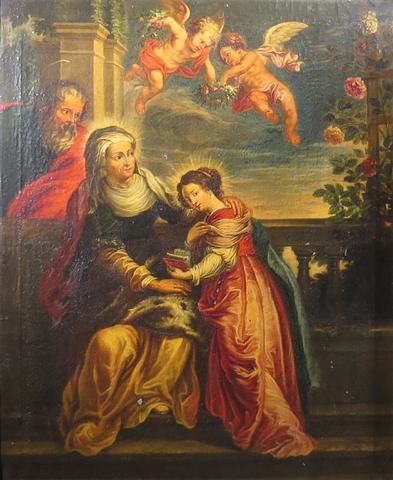 Ecole vers 1700. Education de la vierge. HST. 100 x 81 cm.