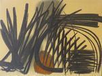 Hans Hartung. Composition. Huile et pastel sur papier marouflé sur