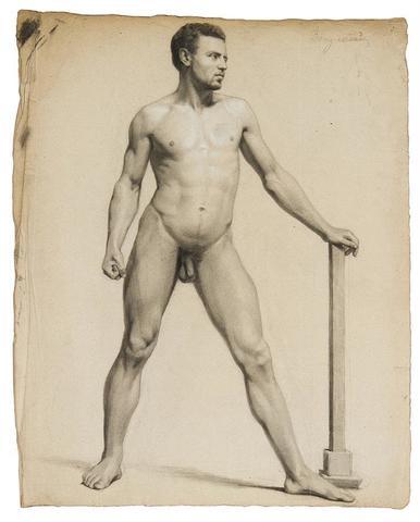 William Bouguereau. Nu d'homme, 19ème. Dessin au crayon avec rehauts