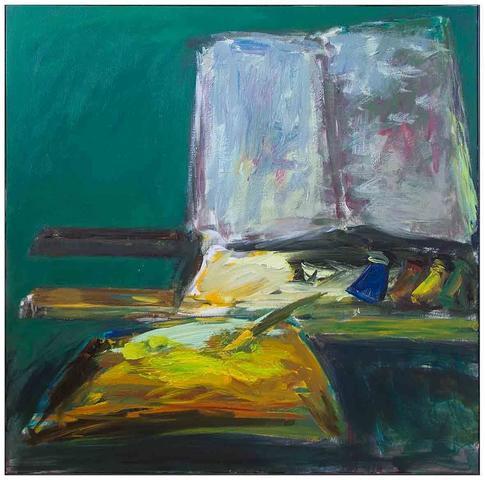 Patrice Giorda. La table de travail, 2016. Acrylique sur toile, signature