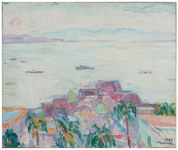 Jacques Truphémus. La baie de naples, 1965. Huile sur toile, signature