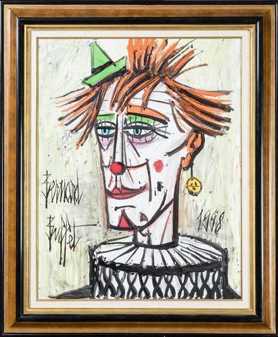 """Bernard BUFFET (1928-1999). """" Clown à la fraise, 1998 """". Huile sur"""