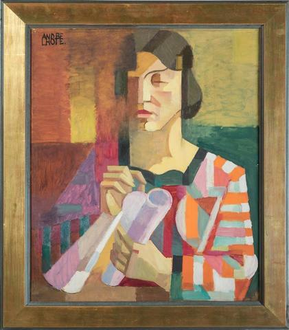 """André LHOTE (1885-1962). """" Pénélope, vers 1912 """". Huile sur papier"""
